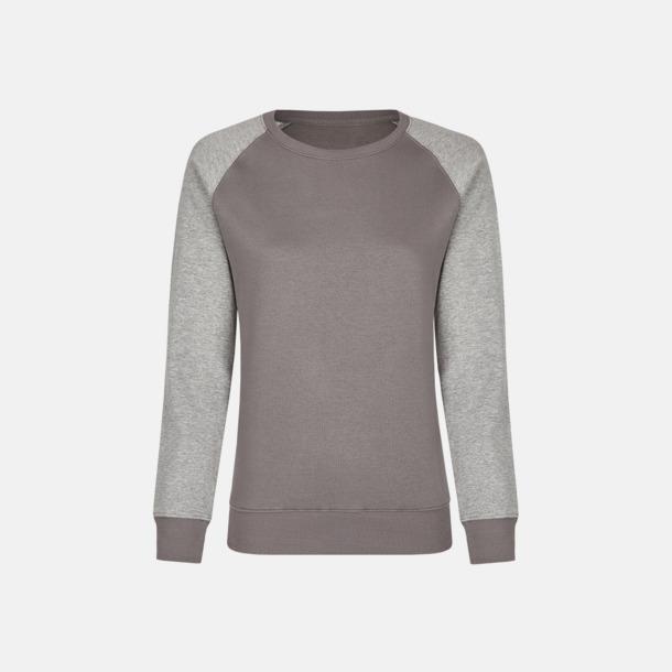 Grey Solid/Heather Grey (dam) 2-tonade tröjor med reklamtryck