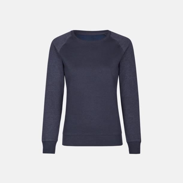 Marinblå/Heather Navy (dam) 2-tonade tröjor med reklamtryck