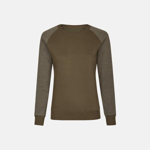 Olive/Heather Olive (dam) 2-tonade tröjor med reklamtryck
