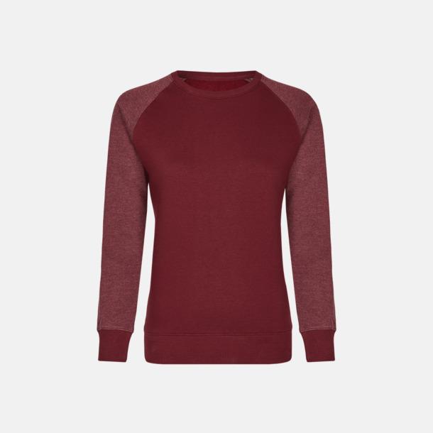 Burgundy/Heather Burgundy (dam) 2-tonade tröjor med reklamtryck