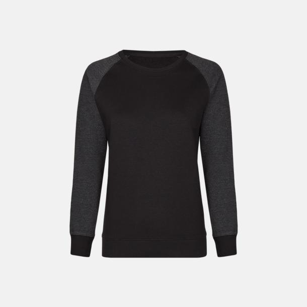 Svart/Heather Black (dam) 2-tonade tröjor med reklamtryck