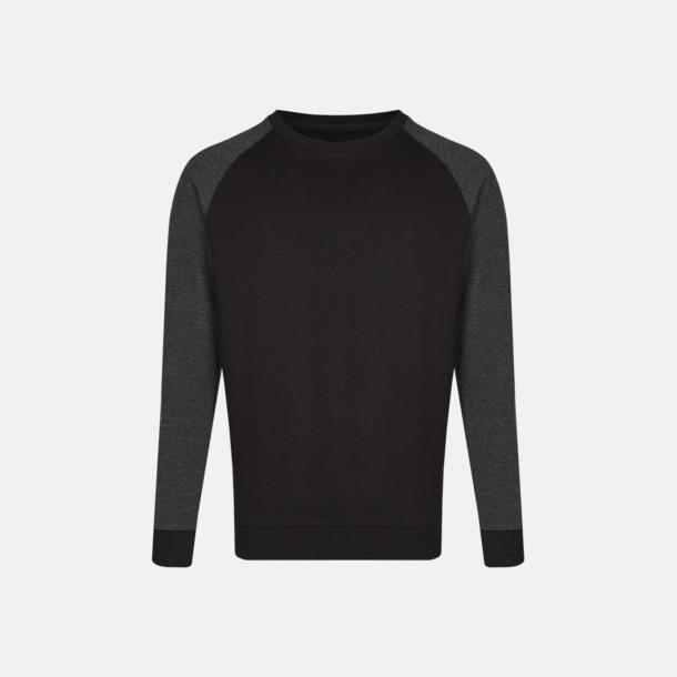 Svart/Heather Black (herr) 2-tonade tröjor med reklamtryck