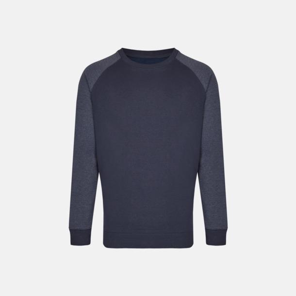 Marinblå/Heather Navy (herr) 2-tonade tröjor med reklamtryck