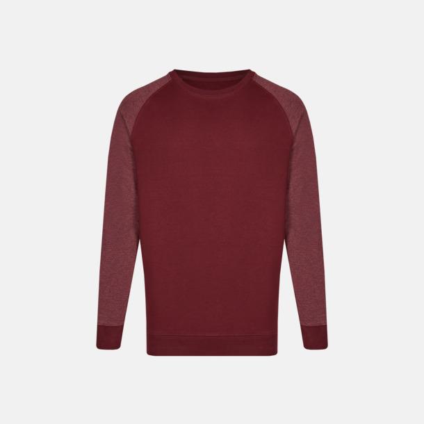 Burgundy/Heather Burgundy (herr) 2-tonade tröjor med reklamtryck