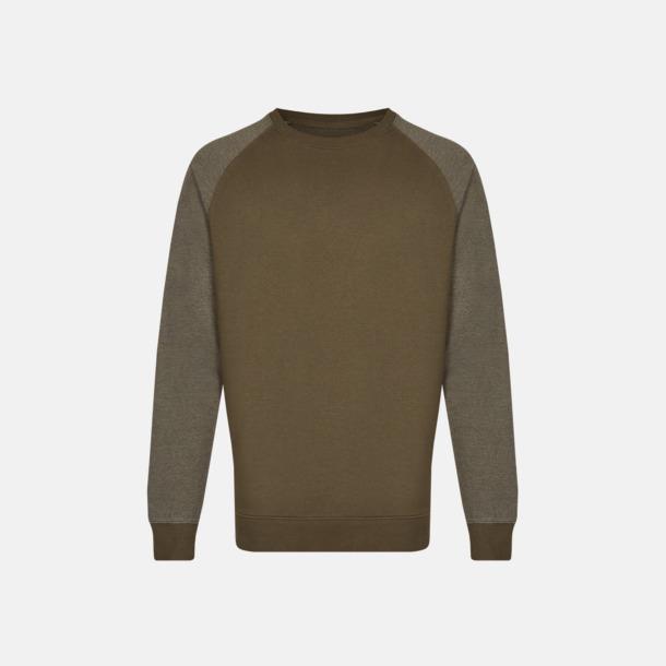 Olive/Heather Olive (herr) 2-tonade tröjor med reklamtryck