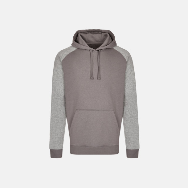 Grey Solid/Heather Grey (herr) Flerfärgade huvtröjor med reklamtryck
