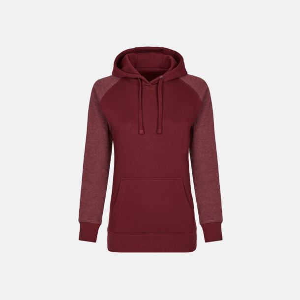 Burgundy/Heather Burgundy (dam) Flerfärgade huvtröjor med reklamtryck