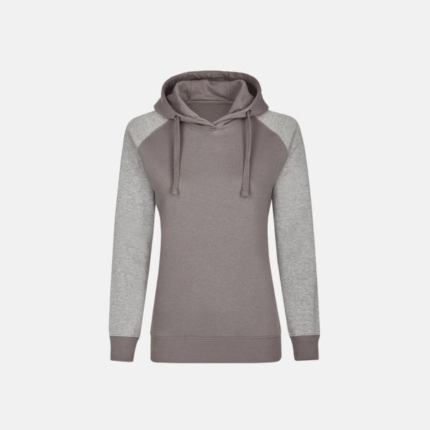 Grey Solid/Heather Grey (dam) Ficklösa huvtröjor med reklamtryck