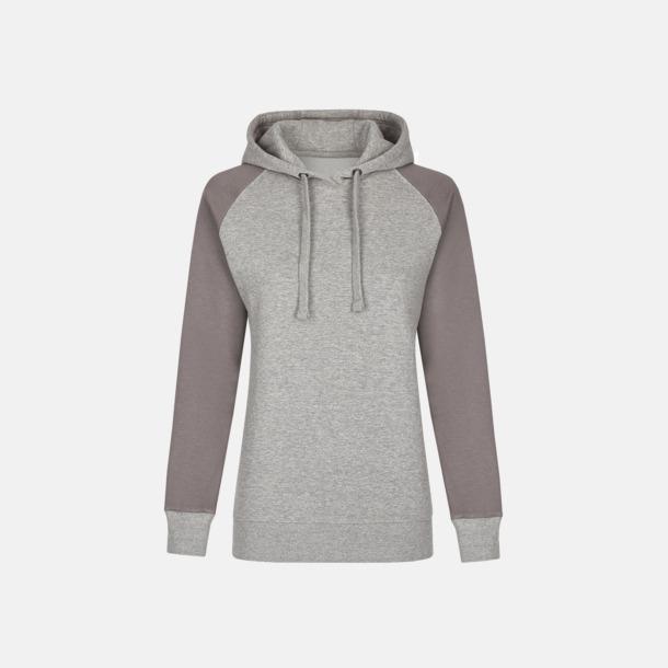 Heather Grey/Grey Solid (dam) Ficklösa huvtröjor med reklamtryck