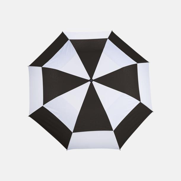 Svart / Vit Slazenger paraplyer med reklamtryck