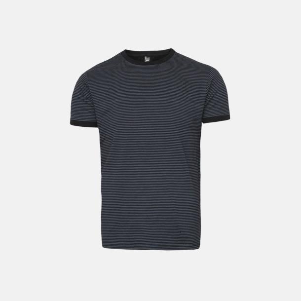 Svart/Mörkgrå (randig) Herr t-shirts i spännande färgkombinationer med reklamtryck