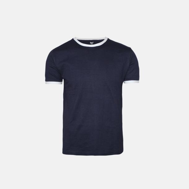 Marinblå / Vit Herr t-shirts i spännande färgkombinationer med reklamtryck