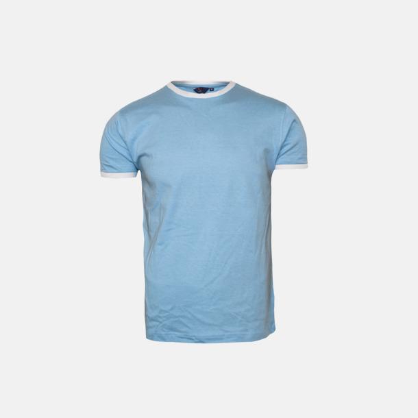 Sky/Vit Herr t-shirts i spännande färgkombinationer med reklamtryck