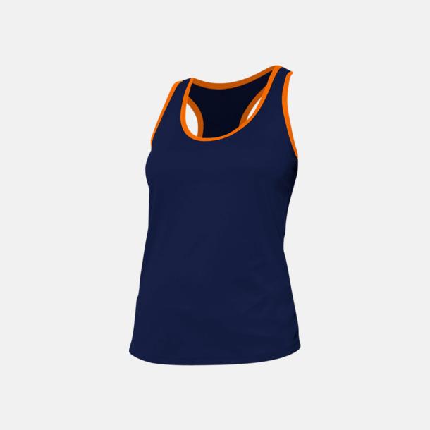 Marinblå/Fluorescerande Orange Damlinnen med kontrasterande färg - med reklamtryck