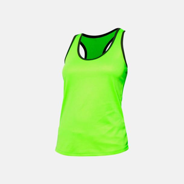 Fluorescerande Grön/Marinblå Damlinnen med kontrasterande färg - med reklamtryck
