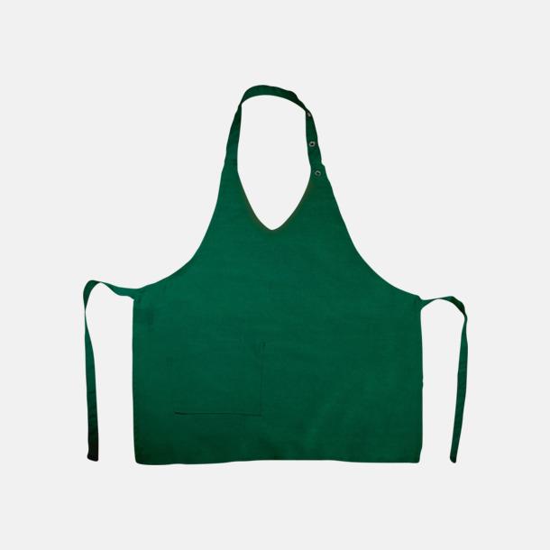 Bottle Green V-ringade förkläden med reklamtryck
