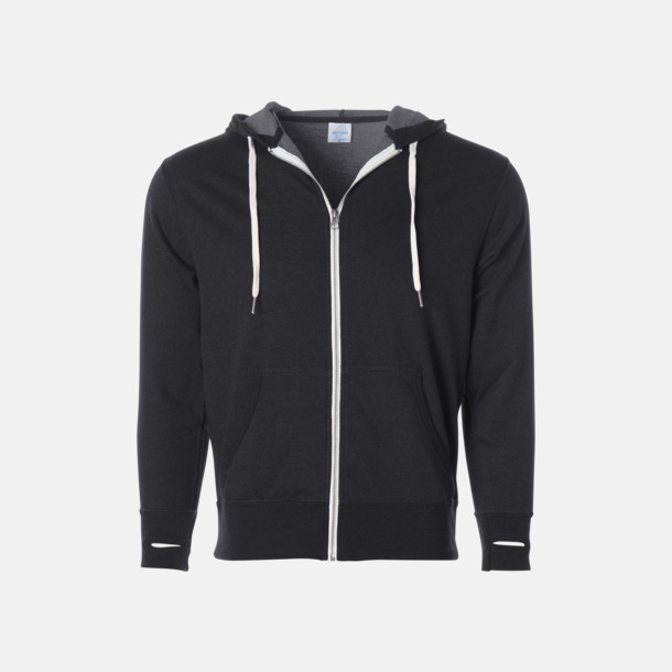 Charcoal Heather Blixtlås hoodies i frottébomull med reklamtryck