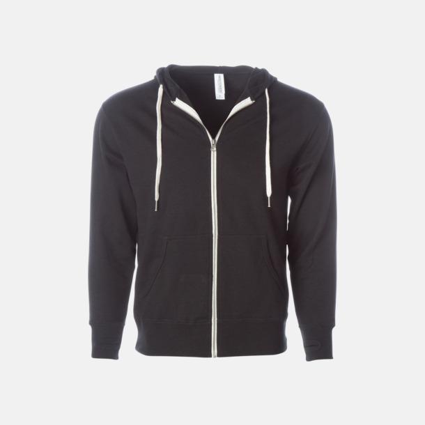 Svart Blixtlås hoodies i frottébomull med reklamtryck