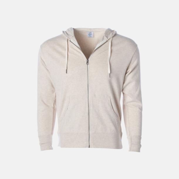 Oatmeal Heather Blixtlås hoodies i frottébomull med reklamtryck