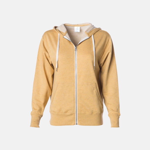 Golden Wheat Heather Blixtlås hoodies i frottébomull med reklamtryck