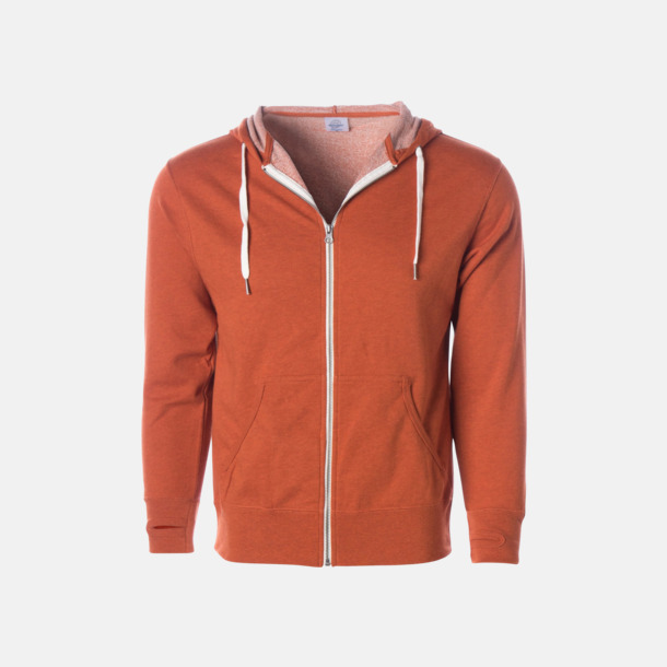 Burnt Orange Heather Blixtlås hoodies i frottébomull med reklamtryck