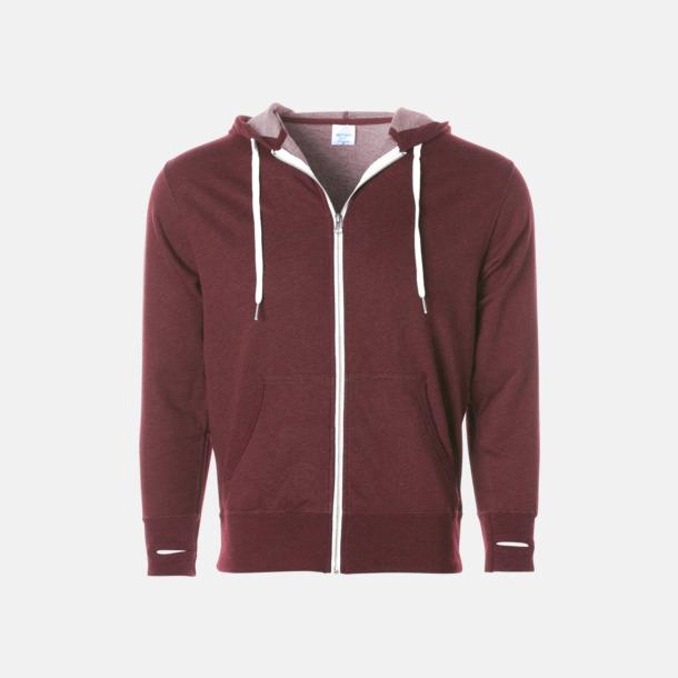 Burgundy Heather Blixtlås hoodies i frottébomull med reklamtryck