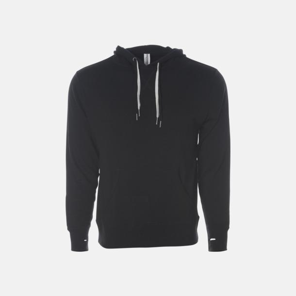 Svart French terry hoodies med reklamtryck