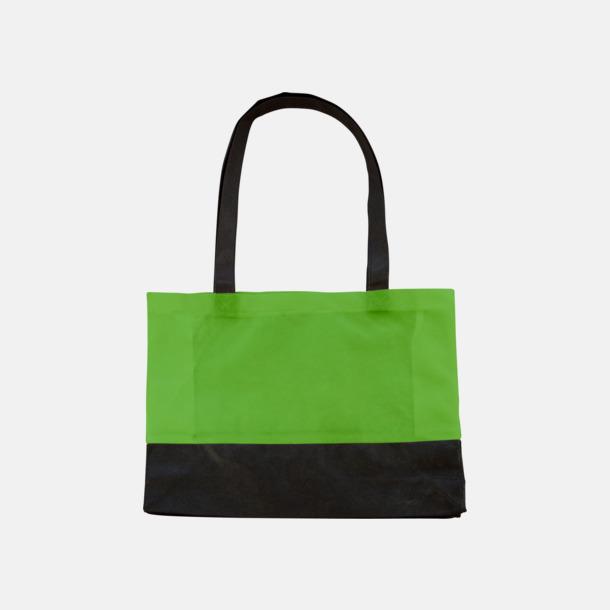 Ljusgrön/Svart 2-färgade non woven-påsar med reklamtryck
