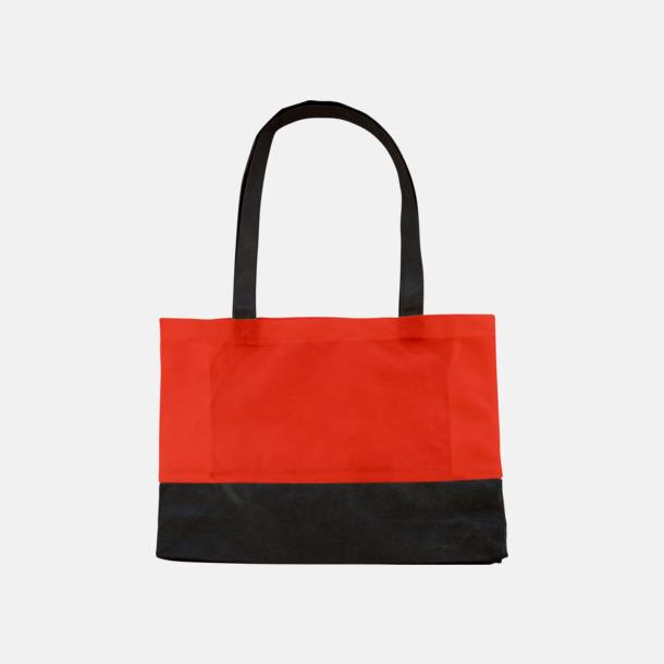 Röd / Svart 2-färgade non woven-påsar med reklamtryck