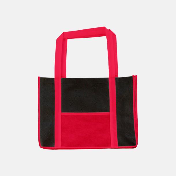 Röd / Svart Tygkassar med kontrastficka med reklamtryck