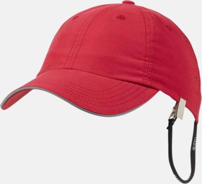 Röd Keps med snöre & UV-skydd - med reklamtryck