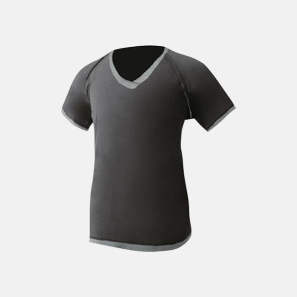 Svart/Grey Melange V-ringade herr t-shirts med reklamtryck