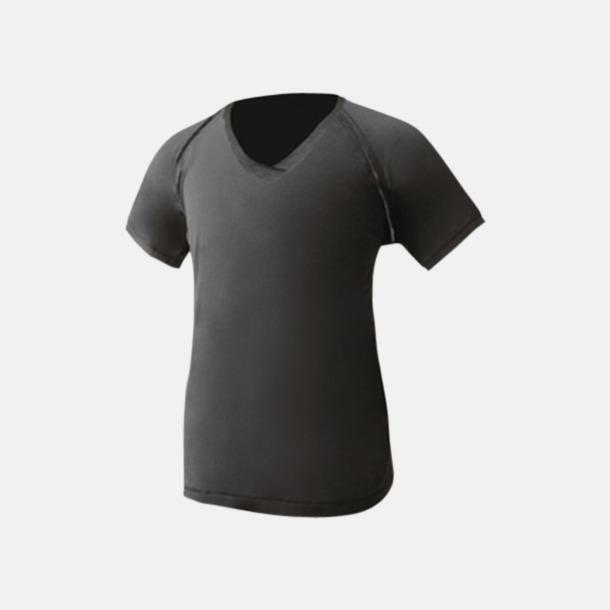 Svart V-ringade herr t-shirts med reklamtryck