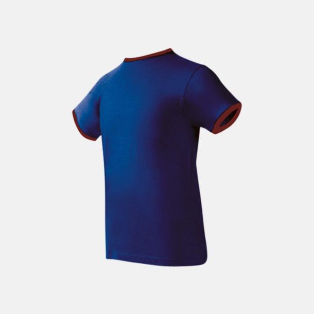 Deep Blue/Burgundy Herr t-shirts i spännande färgkombinationer med reklamtryck