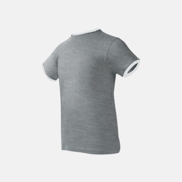 Grey Melange/Vit Herr t-shirts i spännande färgkombinationer med reklamtryck