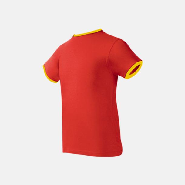 Röd / Gul Herr t-shirts i spännande färgkombinationer med reklamtryck