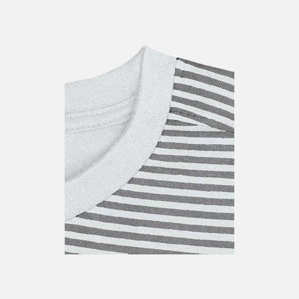 Vit/Grå (randig) Herr t-shirts i spännande färgkombinationer med reklamtryck