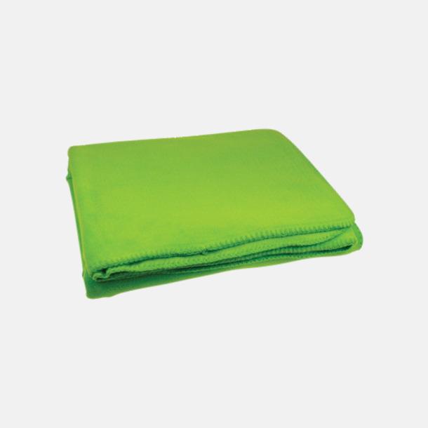 Ljusgrön Noppfria fleeceplädar med reklamlogo