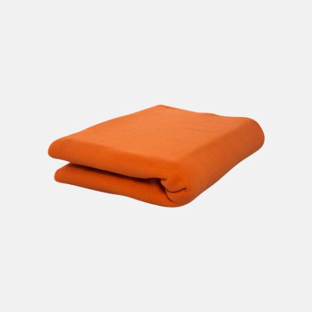 Orange Noppfria fleeceplädar med reklamlogo