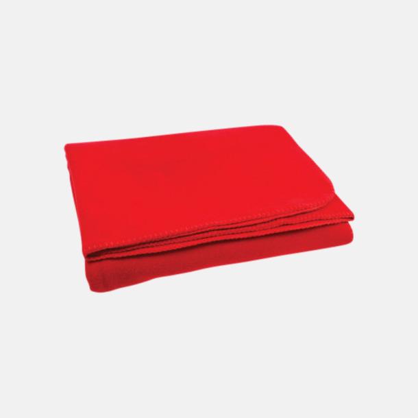 Röd Noppfria fleeceplädar med reklamlogo
