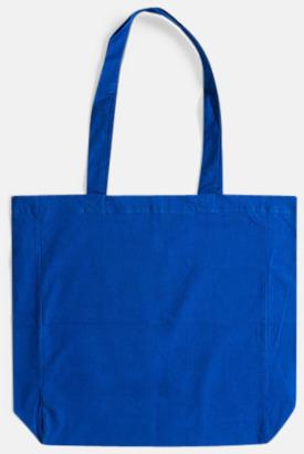 Blå (långa handtag) Billiga shoppingkassar i bomull med reklamtryck
