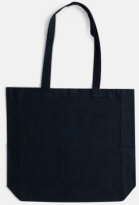 Deep Blue (långa handtag) Billiga shoppingkassar i bomull med reklamtryck