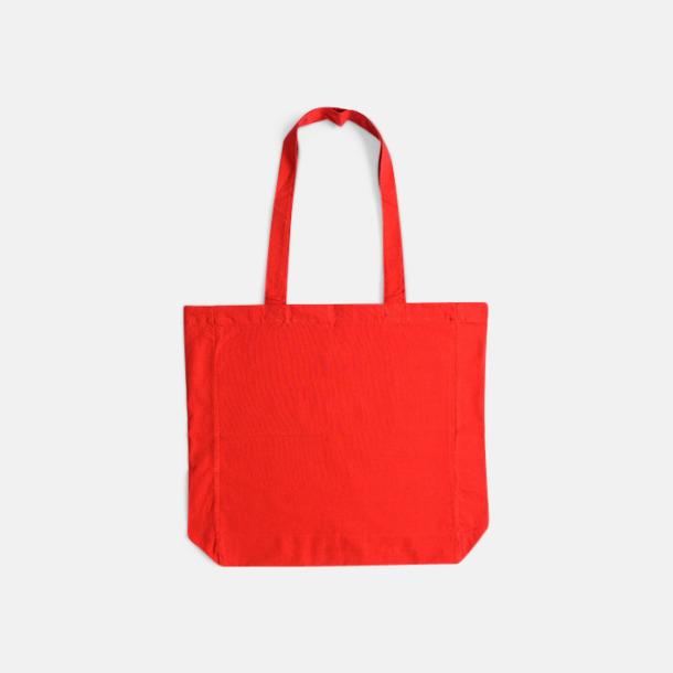 Röd (långa handtag) Billiga shoppingkassar i bomull med reklamtryck
