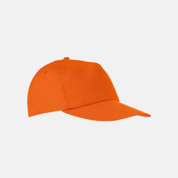 Orange Billiga kepsar i bomull med reklamlogo