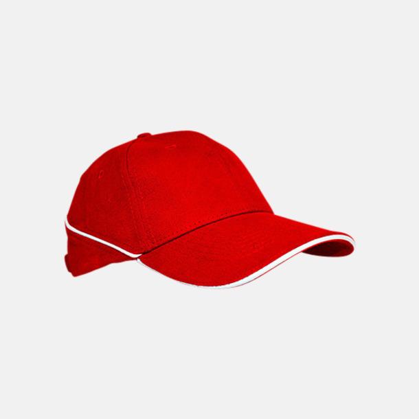 Röd / Vit Keps med eller utan vit rand - med reklamlogo