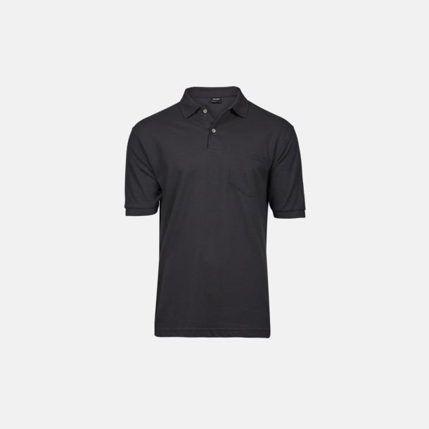 Mörkgrå (solid) Herrpikéer med ficka med reklamtryck