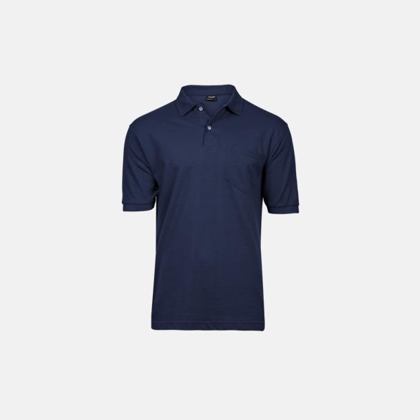Marinblå Herrpikéer med ficka med reklamtryck
