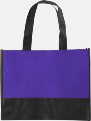 Lila / Svart Kassar med svart kontrastfärg med reklamtryck