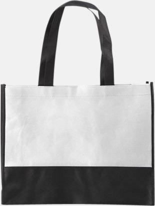 Vit / Svart Kassar med svart kontrastfärg med reklamtryck