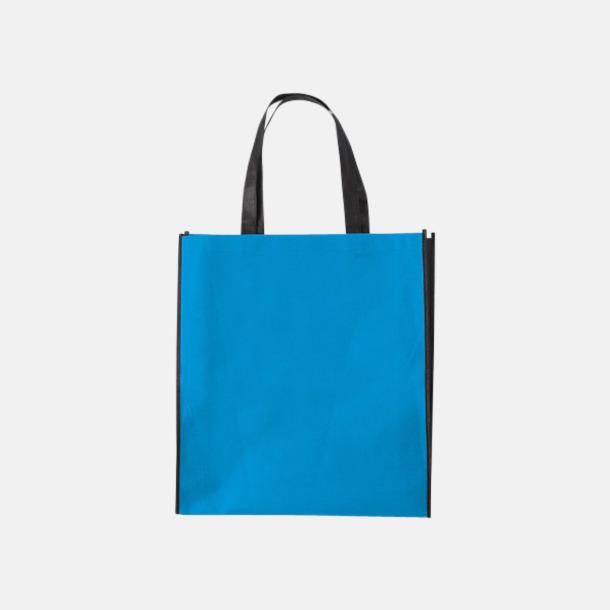 Pale Blue/Svart Tygpåsar med mörk kontrastfärg med reklamtryck